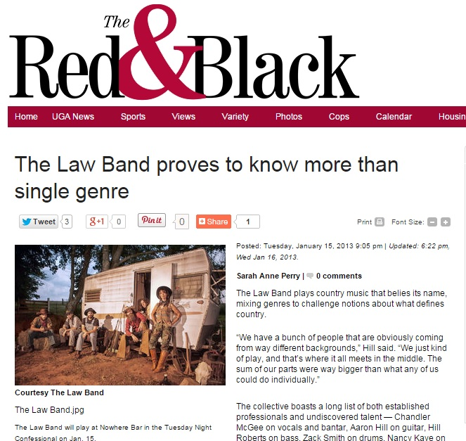 The Law Band featured in the Red & Black student newspaper at the University of Georgia in Athens.