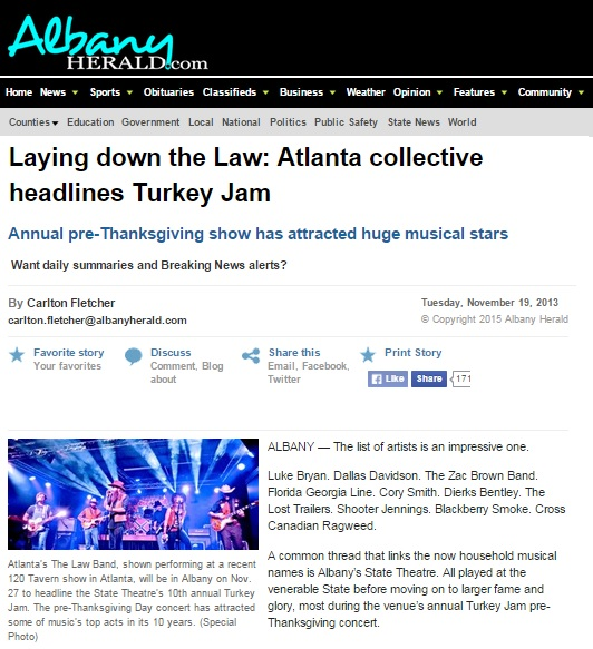 The Law Band featured in the Albany Herald by Carlton Fletcher