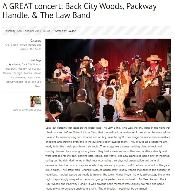The Law Band concert review by Louise Warren on Make It Work Molly